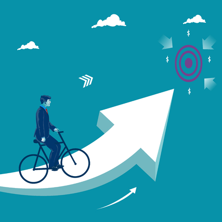 Reaching business target. Businessman riding bike on the rising arrow toward his goal. Business metaphor, vector illustration.