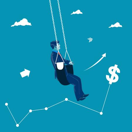 Market swing concept. Bull market. Business vector illustration