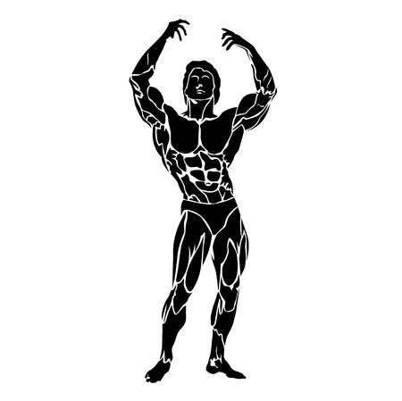 Concetto di bodybuilding e fitness, flettendo i muscoli, illustrazione vettoriale
