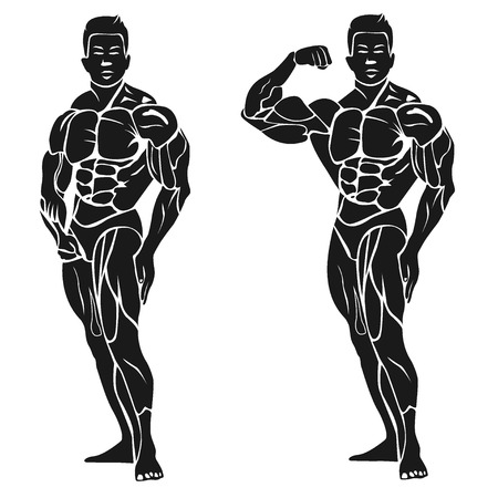 Bodybuilder showing his biceps, fitness concept, vector illustration