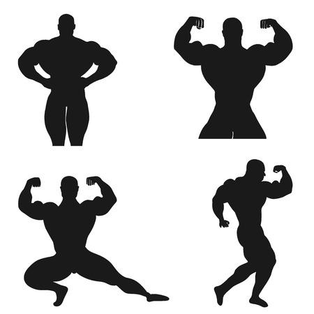 Culturismo, levantamiento de pesas, vector, conjunto