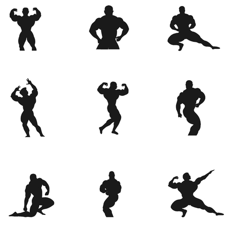 Bodybuilding, Powerlifting, vector, set