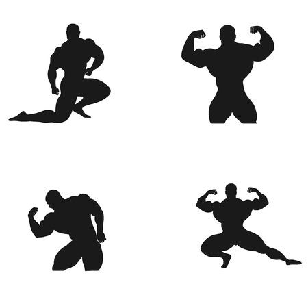 Bodybuilding, Powerlifting, vector, set 版權商用圖片 - 121856978