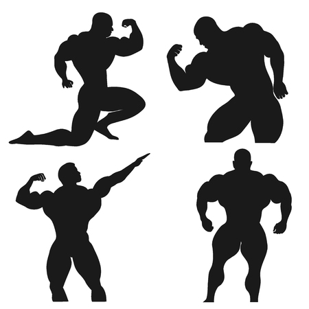 Bodybuilding, Powerlifting, vector, set