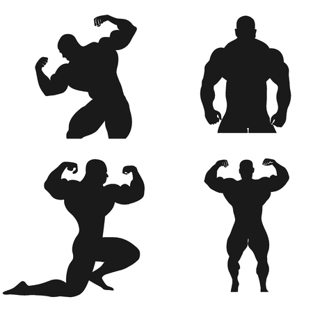 Bodybuilding, Powerlifting, vector, set 版權商用圖片 - 121856982