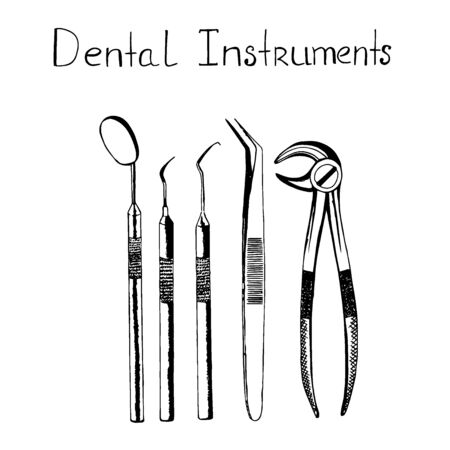 Dental instruments, sketch style, vector illustration  イラスト・ベクター素材