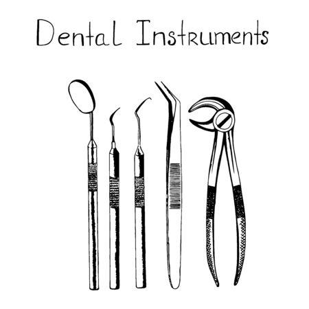 Dental instruments, sketch style, vector illustration Vectores