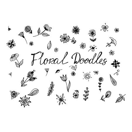 Floral doodles, vector illustration  イラスト・ベクター素材