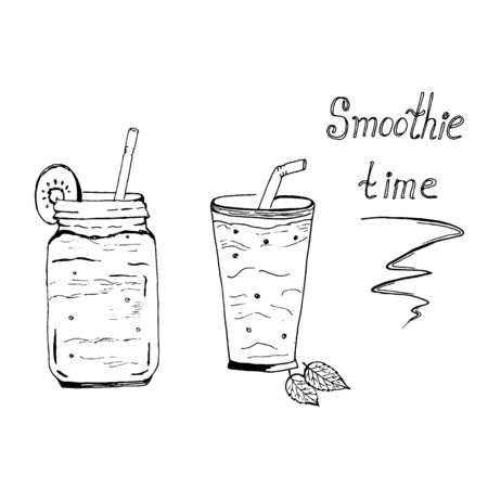 Smoothie time, sketch, vector illustration
