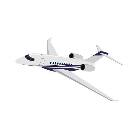 Jet privado, vista lateral, ilustración vectorial