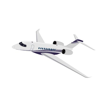 Private jet, side view, vector illustration
