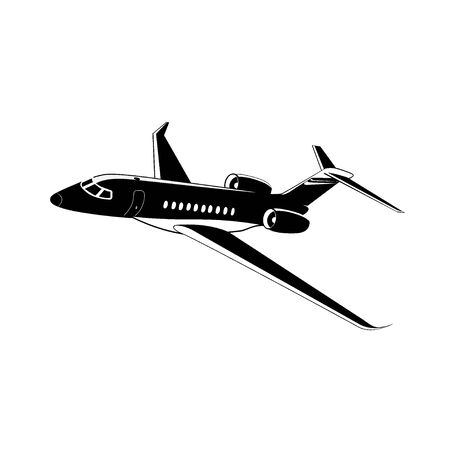 Private jet, airplane icon, vector illustration isolated on white