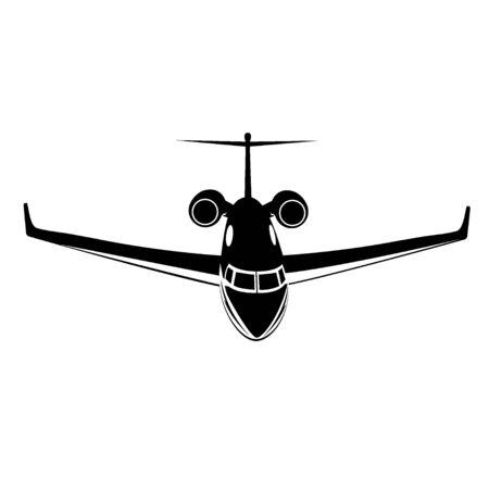Prive-jet, vliegtuigpictogram, vectorillustratie geïsoleerd op een witte achtergrond