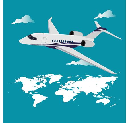 Airplane flying above the world map, vector illustration