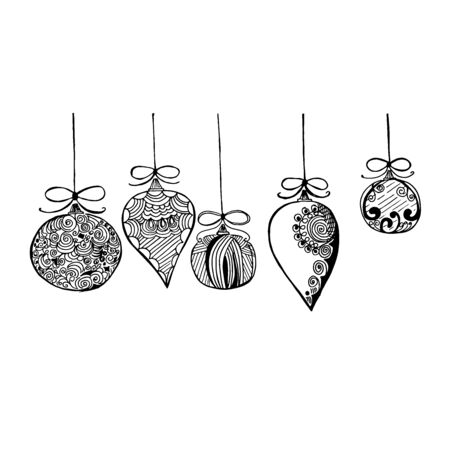 Christmas decorations in sketch style, vector