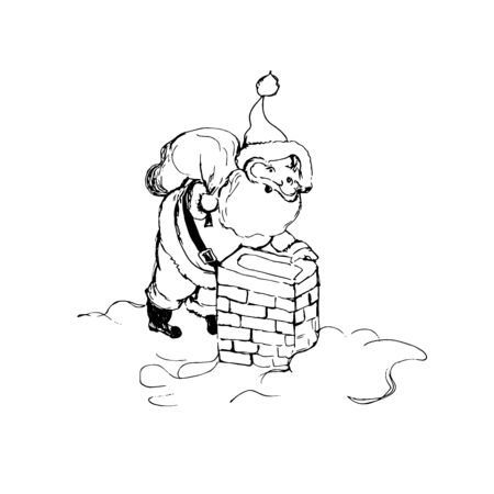 Santa Claus and chimney, sketch style Vectores