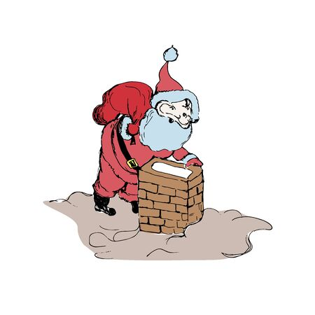 Santa Claus and chimney, sketch style  イラスト・ベクター素材