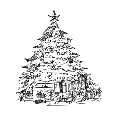 Christmas tree in sketch style, vector illustration
