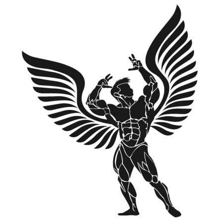 Bodybuilder with wings, fitness and bodybuilding theme, vector Illustration