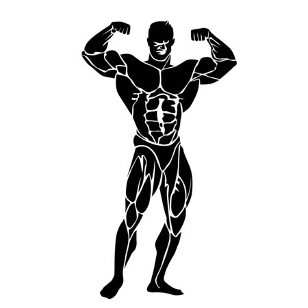 Bodybuilding icon, fitness theme, vector illustration