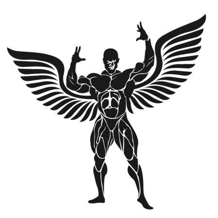 Bodybuilder flexing muscles, vector illustration Illustration