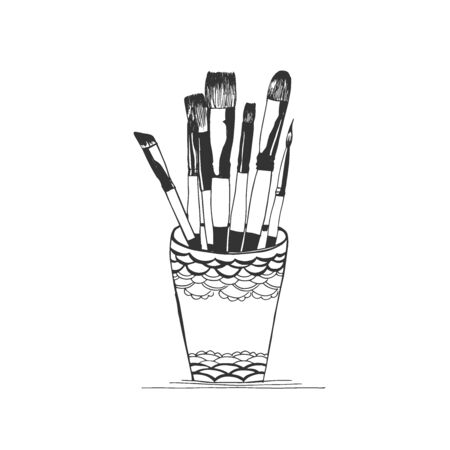 Cup with brushes, sketch style, vector illustration