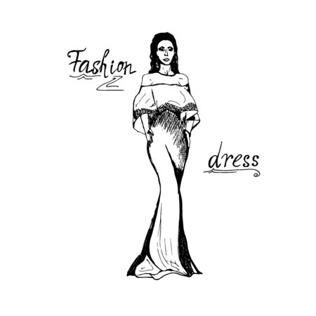 Fashion concept in sketch style, vector illustration
