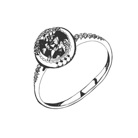 Ring, sketch style, vector illustration