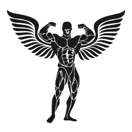 Icon of bodybuilder with double biceps pose, vector illustration