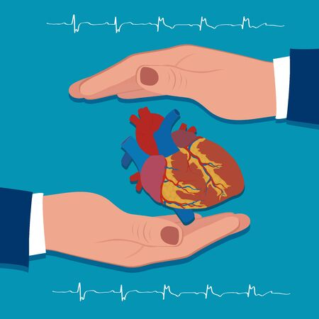 Heart protection concept, vector illustration