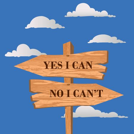 Yes I can no I can't street sign, choice theme, vector illustration