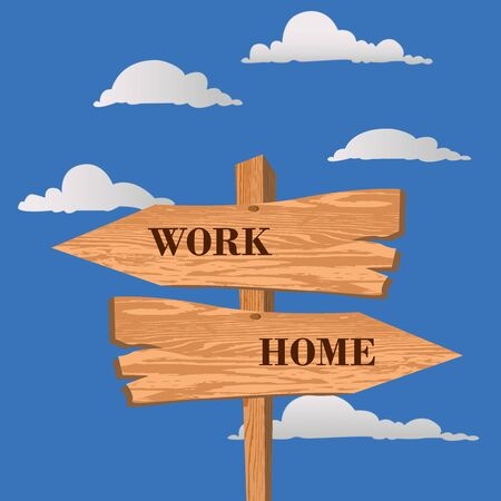work or home street sign, choice concept, vector illustration