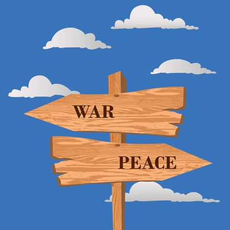 War or peace street sign, choice concept, vector illustration