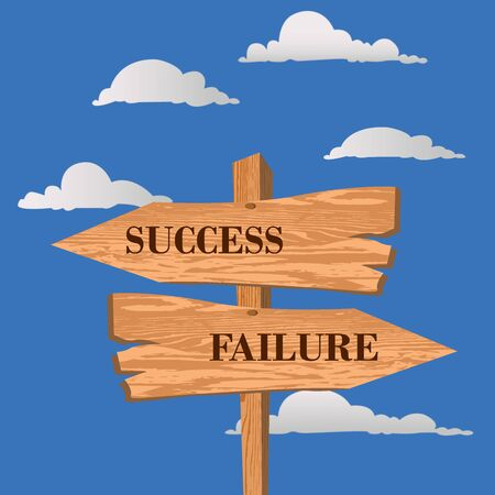 Success or failure street sign, choice concept, vector illustration  イラスト・ベクター素材