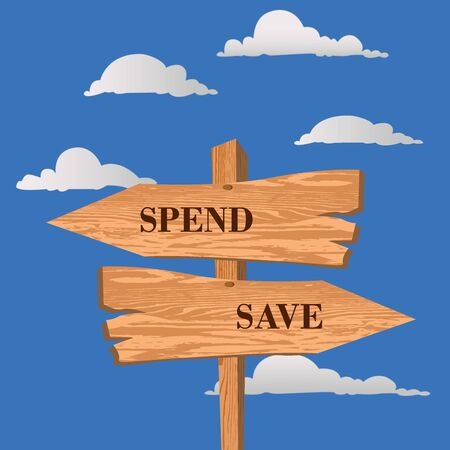 Spend or save street sign, choice concept, vector illustration
