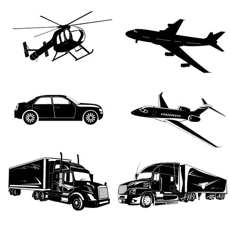 Set of transport icons, truck, plane, car, helicopter