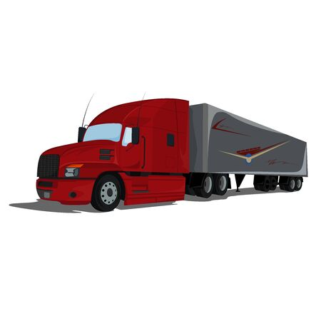 Truck, semi truck, vector illustration