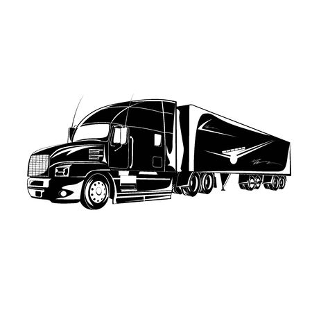 Icon of semi truck, vector illustration