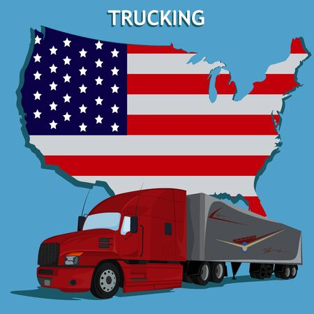Semi truck and American flag, vector illustration