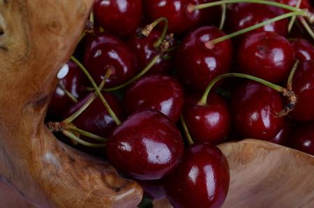 A lot of red ripe cherry lies close-up. Stok Fotoğraf