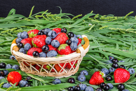 Ripe strawberries, blueberries and black currant in a wicker basket on the grass. The concept of a generous summer harvest of berries. On a dark background.