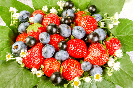 field mint: Ripe strawberries in a basket decorated with leaves and field flowers on a gray background. The concept of a generous summer harvest of berries. Close-up.