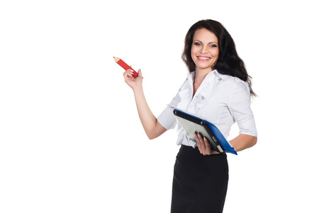 Young happy businesswoman hold pencil. photo