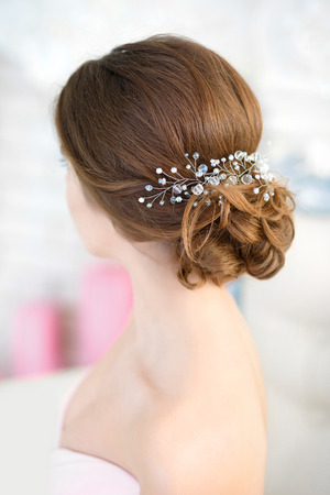 barrette: Beautiful barrette in her hair and jewelry, rear view. Stock Photo