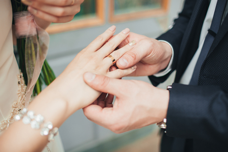 Wearing Wedding Ring Ceremony Tradition Wedding Concept Stock