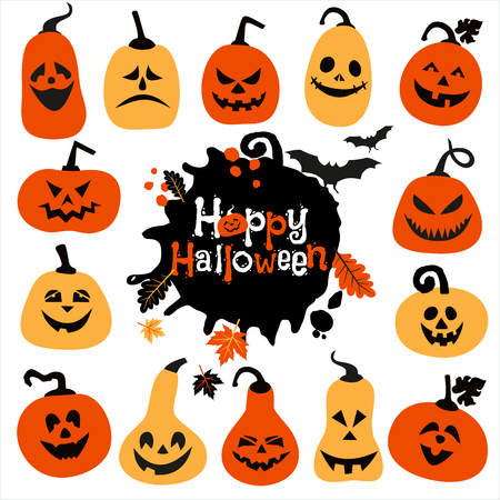 smilling: Halloween icon set of cheerful pumpkins.