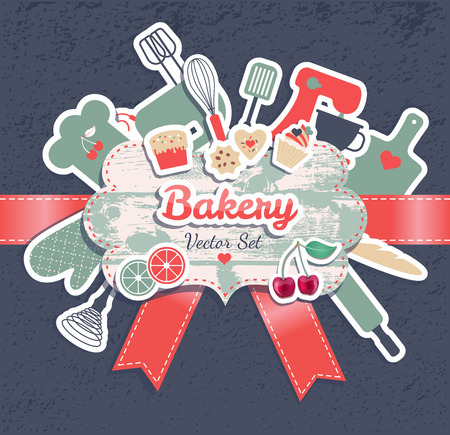 bakery shop: bakery and sweets abstract illustration.