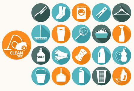 limpieza del hogar: Iconos planos Limpio Vectores