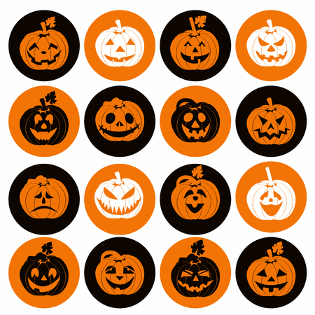 calabaza caricatura: Icono de Halloween conjunto de calabazas alegres. Vectores
