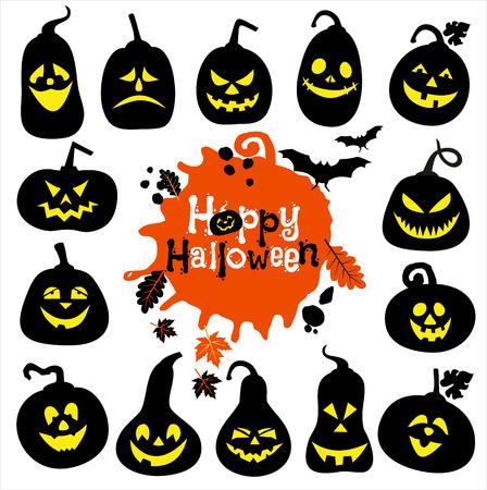 Halloween icon set of cheerful pumpkins.